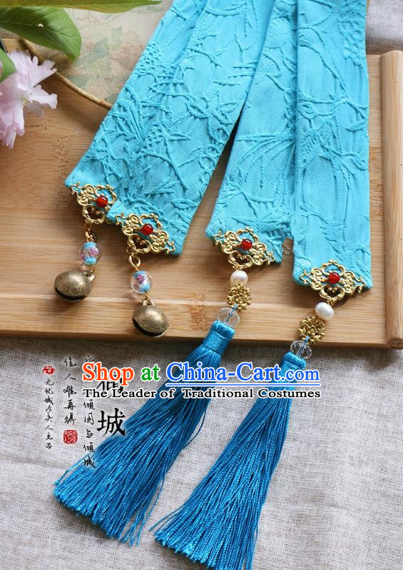 Chinese Handmade Classical Hair Accessories Hanfu Blue Silk Headband, China Ancient Embroidery Bells Hair Clasp Headwear for Women for Men