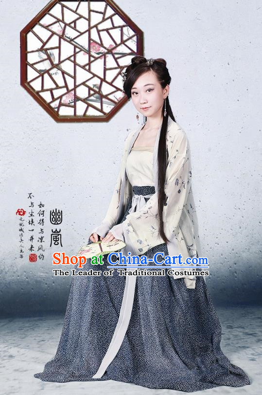 Traditional Ancient Chinese Song Dynasty Young Lady Costume Blouse and Skirt, Chinese Hanfu Princess Dress for Women