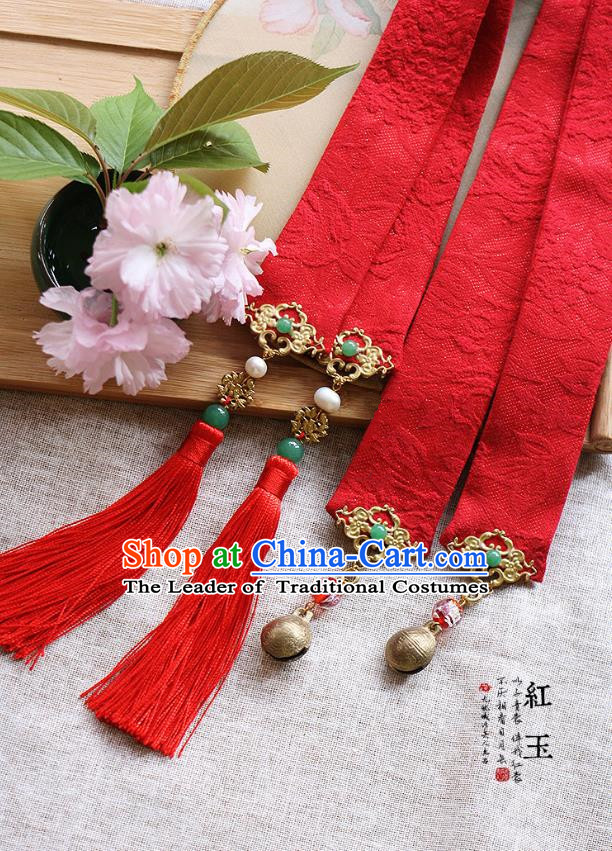 Chinese Handmade Classical Hair Accessories Hanfu Red Silk Headband, China Ancient Embroidery Bells Hair Clasp Headwear for Women for Men