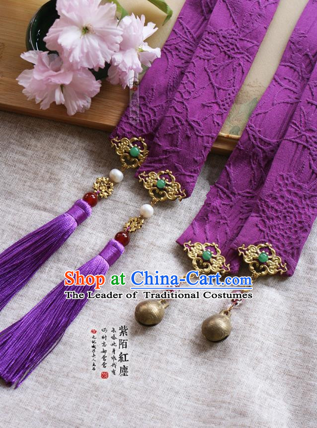 Chinese Handmade Classical Hair Accessories Hanfu Purple Silk Headband, China Ancient Embroidery Hair Clasp Headwear for Women for Men