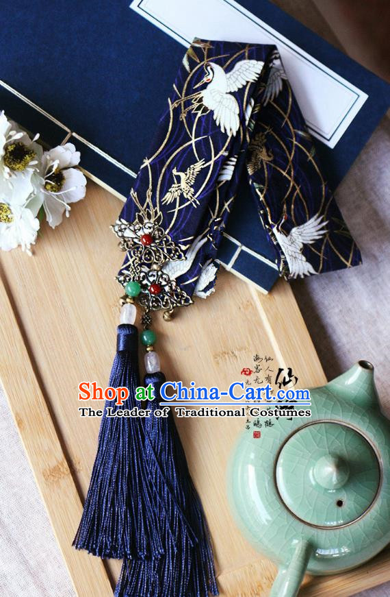 Chinese Handmade Classical Hair Accessories Hanfu Navy Silk Headband, China Ancient Embroidery Hair Clasp Headwear for Women for Men