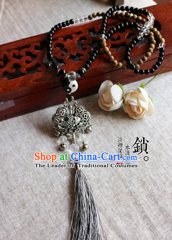 Chinese Handmade Classical Accessories Hanfu Beads Longevity Lock Necklace for Women
