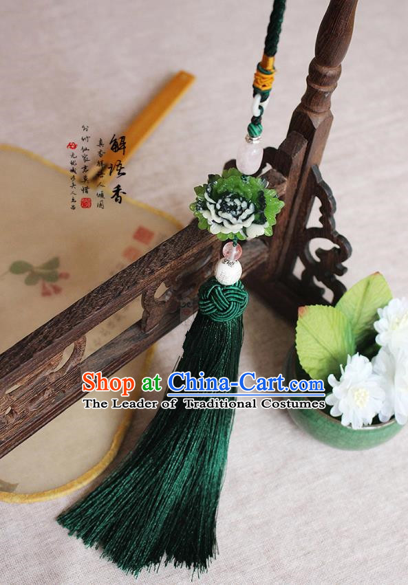 Chinese Handmade Classical Accessories Peony Green Tassel Palace Taeniasis, China Hanfu Waist Pendant Headwear for Women for Men