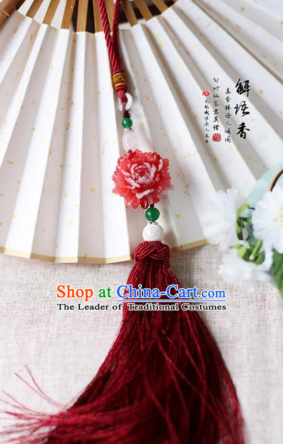 Chinese Handmade Classical Accessories Peony Red Tassel Palace Taeniasis, China Hanfu Waist Pendant Headwear for Women for Men