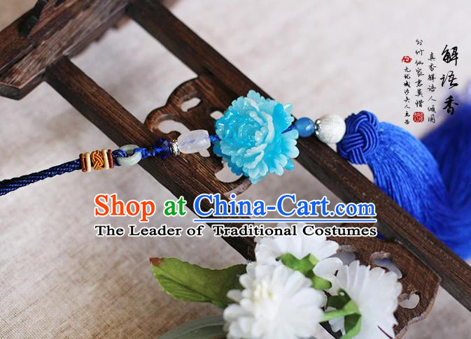 Chinese Handmade Classical Accessories Blue Peony Tassel Palace Taeniasis, China Hanfu Waist Pendant Headwear for Women for Men