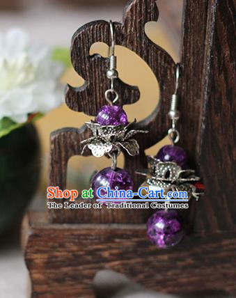 Chinese Handmade Classical Accessories Hanfu Purple Beads Earrings, China Xiuhe Suit Wedding Eardrop for Women