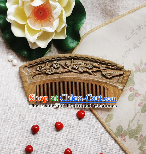 Chinese Handmade Classical Accessories Sandalwood Hair Comb Dandruff Comb for Women