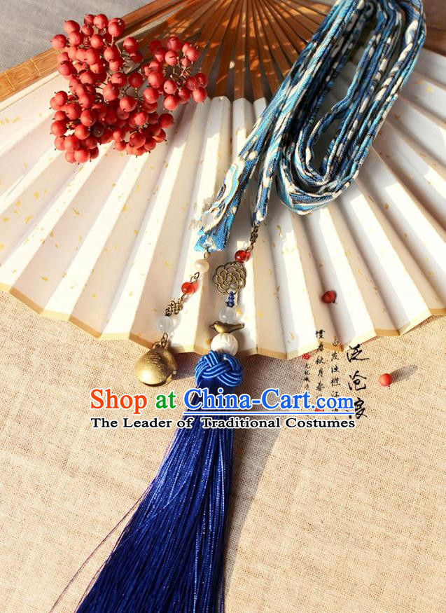 Chinese Handmade Classical Hair Accessories Hanfu Blue Silk Headband, China Ancient Embroidery Hair Clasp Headwear for Women for Men