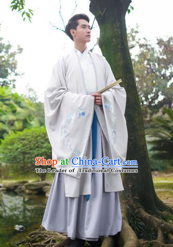 Traditional Asian Chinese Hanfu Scholar Costumes White Embroidered Cloak, China Ji Dynasty Officer Wide Sleeve Embroidered Elegant Robe for Men