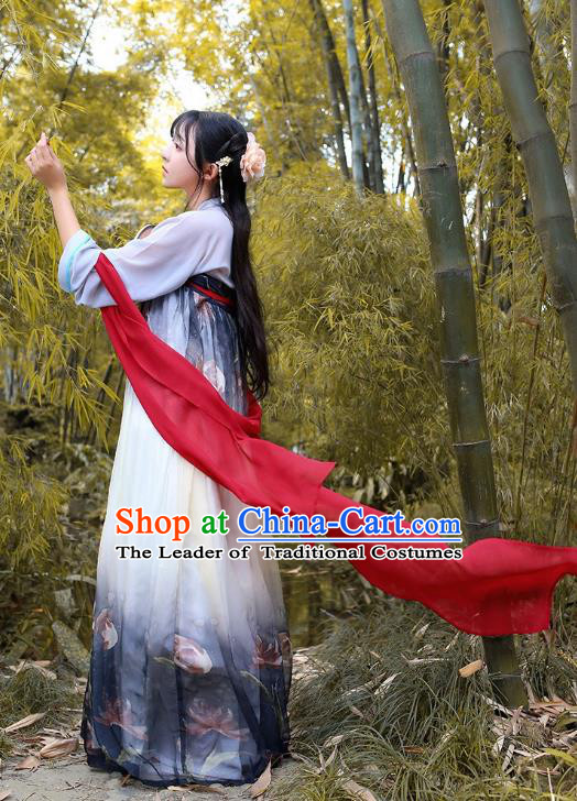 Traditional Chinese Hanfu Costumes Ancient Tang Dynasty Princess Grey Chiffon Blouse and Printing Slip Skirts Complete Set