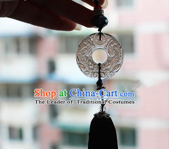 Chinese Handmade Classical Accessories Jade Tassel Palace Taeniasis, China Hanfu Waist Pendant Headwear for Women for Men