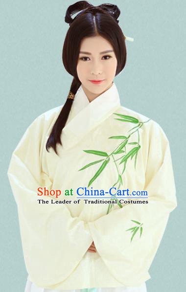 Traditional Oriental China Costume Palace Lady Yellow Blouse, Chinese Ming Dynasty Princess Embroidered Bamboo Clothing for Women