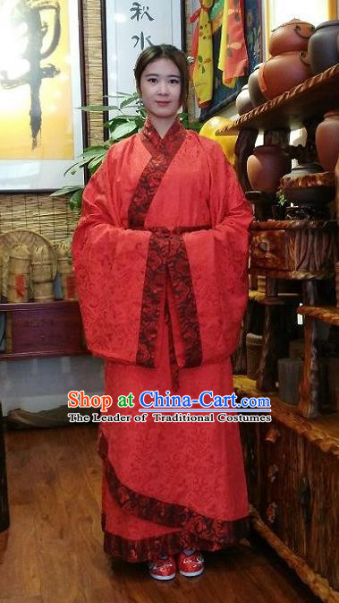 Traditional Oriental China Han Dynasty Wedding Costume Palace Lady Red Embroidered Hanfu Curve Bottom Clothing for Women