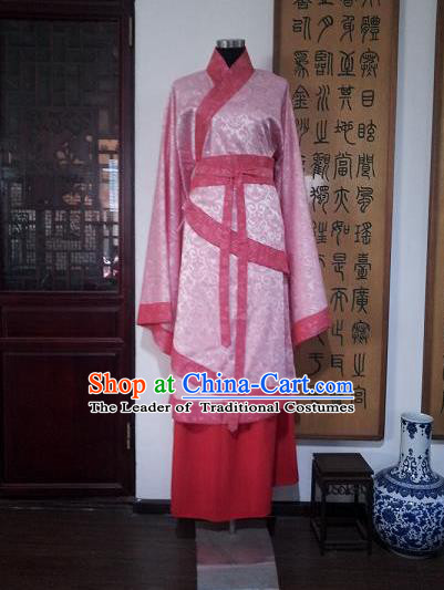 Traditional Oriental China Han Dynasty Wedding Costume Palace Lady Pink Embroidered Hanfu Curve Bottom Clothing for Women