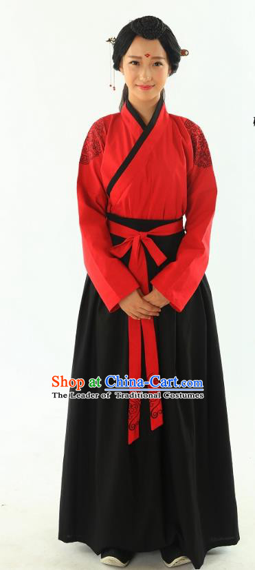 Traditional Oriental China Han Dynasty Wedding Costume Embroidery Red Dress, Chinese Ancient Princess Embroidered Clothing for Women