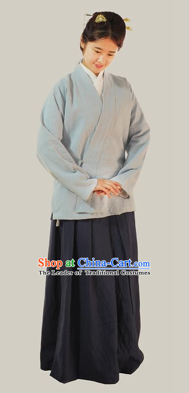 Traditional Chinese Ming Dynasty Young Lady Costumes Grey Linen Slant Opening Blouse for Women