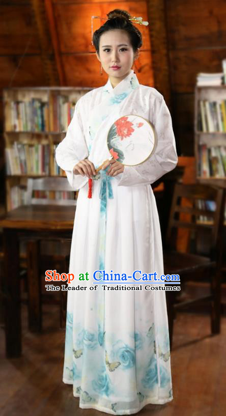 Traditional Chinese Han Dynasty Young Lady Costumes Ancient Princess Printing White Skirt for Women