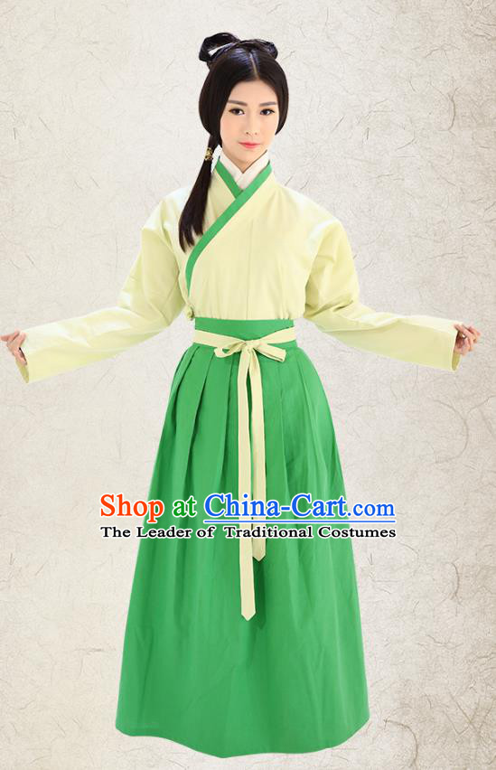Traditional China Costume Hanfu Yellow Blouse and Green Skirt Complete Set, Chinese Han Dynasty Princess Clothing for Women