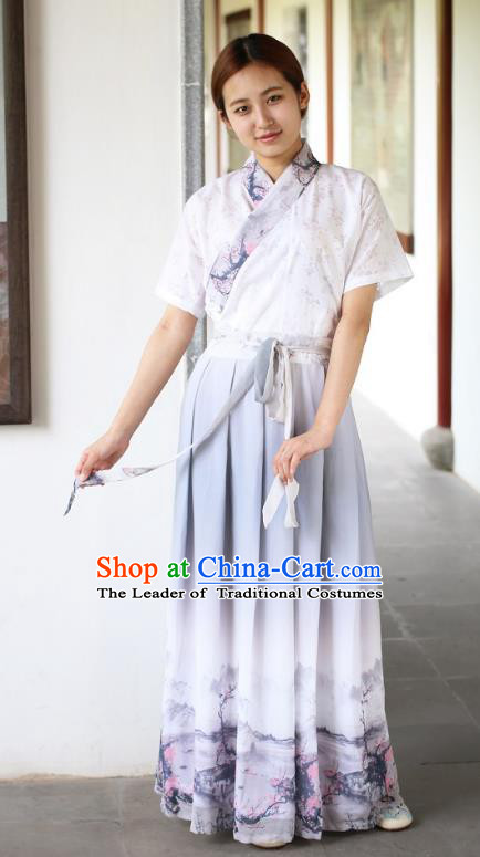 Traditional Asian China Costume Printing Wintersweet Blouse and Skirt, Chinese Han Dynasty Hanfu Embroidered Clothing for Women