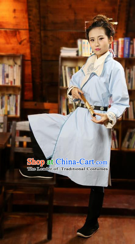 Traditional Chinese Hanfu Costumes Ancient Ming Dynasty Imperial Guards Blue Robe for Women