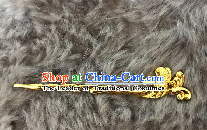 Chinese Handmade Classical Hair Accessories Hanfu Golden Hairpins Headwear for Women
