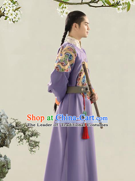 Traditional Ancient Chinese Manchu Royal Highness Costume, Chinese Qing Dynasty Mandarin Clothing for Men
