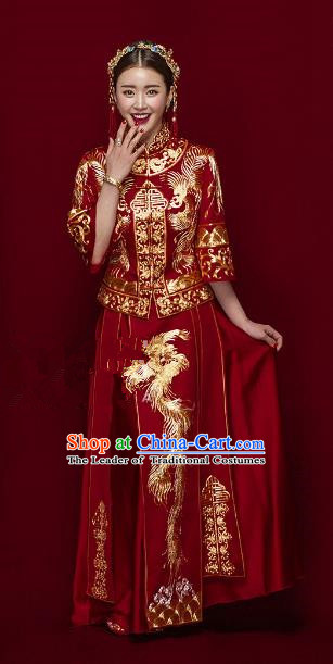 Traditional Ancient Chinese Costume Xiuhe Suits Chinese Style Wedding Red Embroidery Dragon and Phoenix Bride Clothing for Women