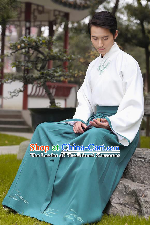 Traditional Chinese Hanfu Costumes Ancient Han Dynasty Young Men Embroidery Slant Opening Shirts and Green Skirts Complete Set