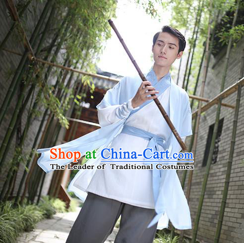 Traditional Chinese Hanfu Costumes Ancient Han Dynasty Swordsman Embroidery Blue Clothing Complete Set