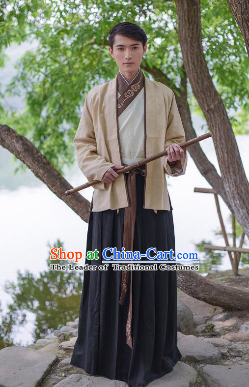 Traditional Chinese Hanfu Costumes Ancient Han Dynasty Swordsman Embroidery Clothing Yellow Half-arm Shawl and Robe Complete Set