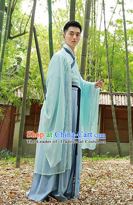 Traditional Chinese Ancient Hanfu Costumes, Asian China Jin Dynasty Embroidery Cardigan Blouse and Skirts for Men