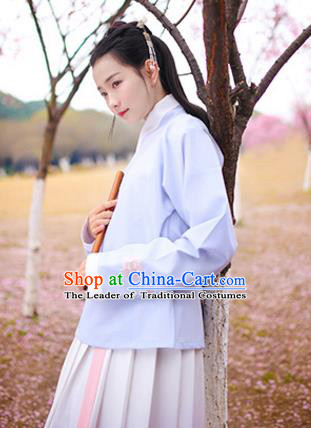 Traditional Chinese Ancient Hanfu Costumes, Asian China Ming Dynasty Young Lady Embroidery Light Blue Blouse for Women