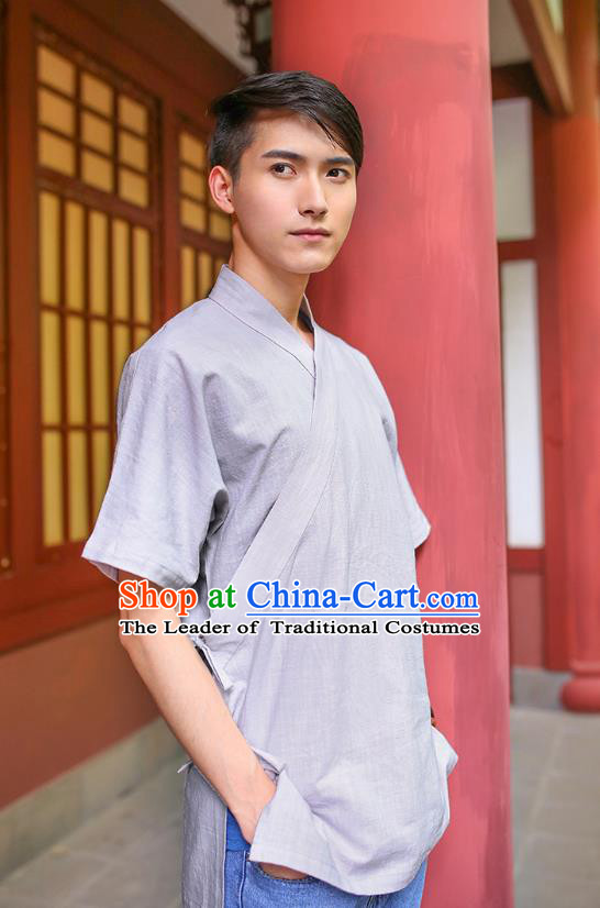 Traditional Chinese Ancient Hanfu Costumes, Asian China Ming Dynasty Slant Opening Grey Shirt for Men