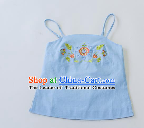 Traditional Chinese Ancient Hanfu Costumes, Asian China Song Dynasty Embroidery Sun-top Vest Blue Bellyband for Women
