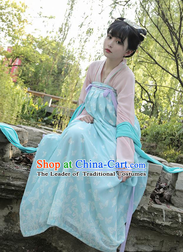 Ancient Chinese Palace Princess Costume, Traditional China Tang Dynasty Young Lady Clothing Pink Blouse and Blue Skirt Complete Set