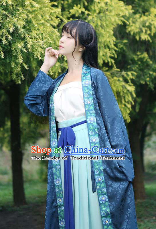 Ancient Chinese Palace Princess Hanfu Costume, Traditional China Song Dynasty Young Lady Embroidery Blue BeiZi Boob Tube Top and Skirt Complete Set
