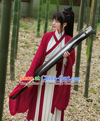 Ancient Chinese Palace Princess Hanfu Costume, Traditional China Jin Dynasty Swordswoman Embroidery Red Cardigan and Dress Clothing