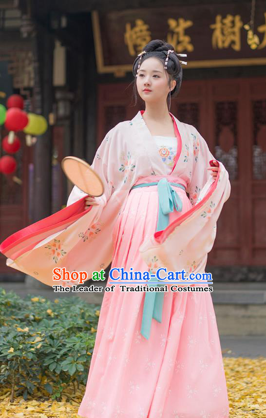 Traditional Chinese Ancient Hanfu Costumes, Asian China Tang Dynasty Palace Lady Princess Clothing Embroidery Blouse and Pink Skirt Complete Set