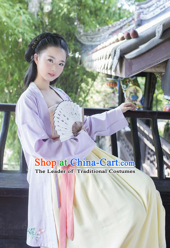 Ancient Chinese Palace Princess Hanfu Costume, Traditional China Ming Dynasty Young Lady Embroidery Blue Cardigan and Dress Clothing