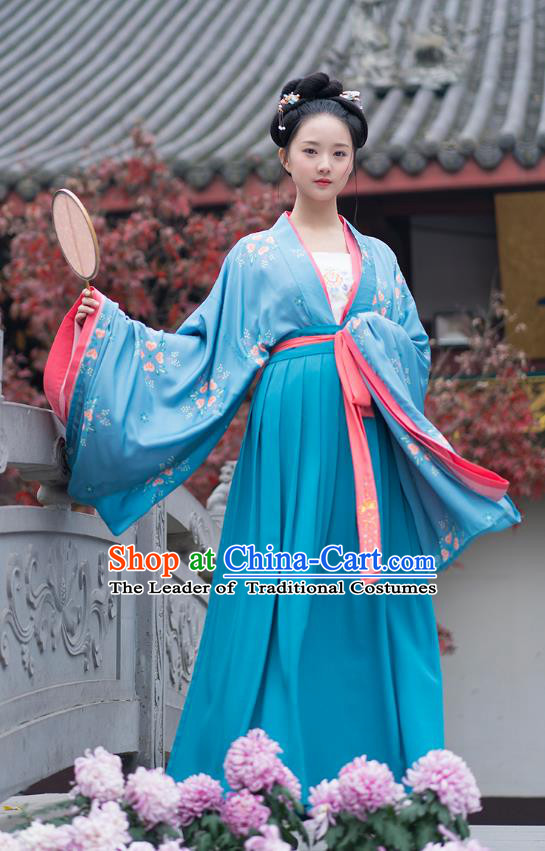 Traditional Chinese Ancient Hanfu Costumes, Asian China Tang Dynasty Palace Lady Princess Clothing Embroidery Blue Blouse and Skirt Complete Set