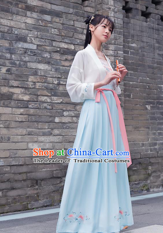 Ancient Chinese Royal Princess Hanfu Costume, Traditional China Song Dynasty Palace Lady Embroidery Blouse and Skirt Complete Set