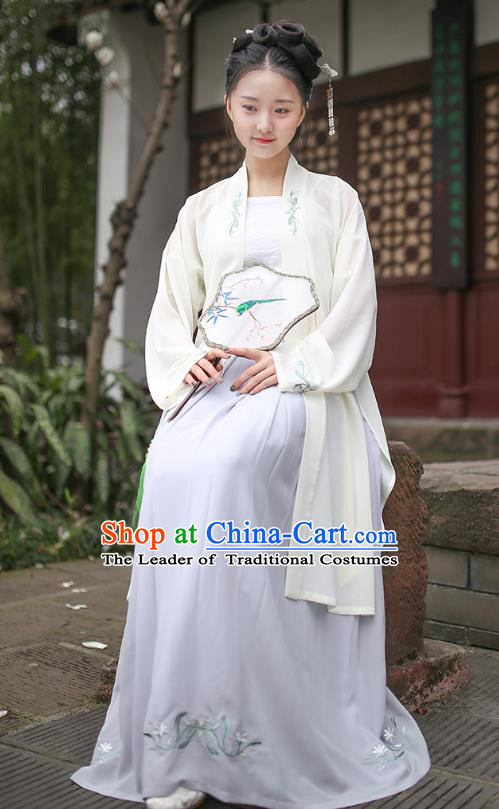 Ancient Chinese Royal Princess Hanfu Costume, Traditional China Song Dynasty Palace Lady Embroidery Beige BeiZi and Dress for Women