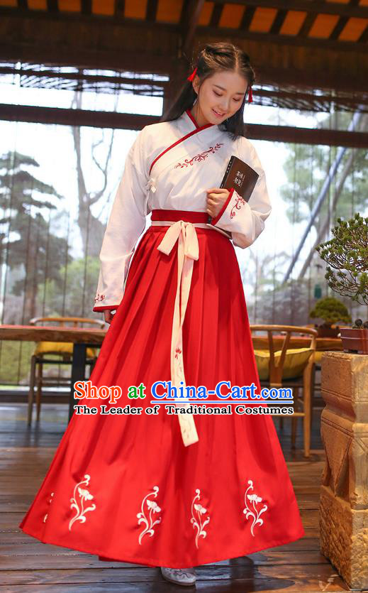Ancient Chinese Royal Princess Hanfu Costume, Traditional China Han Dynasty Palace Lady Embroidery Blouse and Red Dress for Women