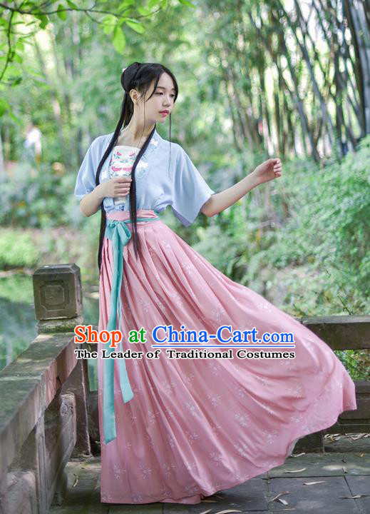 Ancient Chinese Royal Princess Hanfu Costume, Traditional China Song Dynasty Palace Lady Embroidery Blue Blouse and Pink Dress for Women