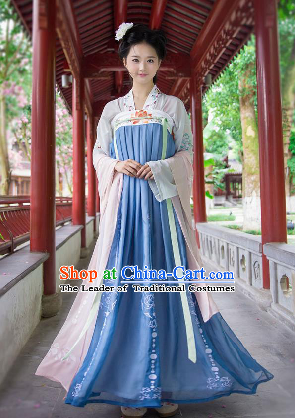 Ancient Chinese Imperial Concubine Hanfu Costume, Traditional China Tang Dynasty Palace Lady Embroidery White Blouse and Blue Slip Skirt for Women