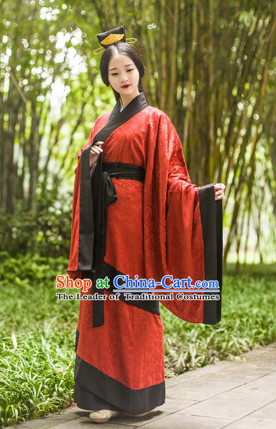 Ancient Chinese Imperial Concubine Hanfu Wedding Costume, Traditional China Han Dynasty Palace Lady Embroidery Red Dress for Women