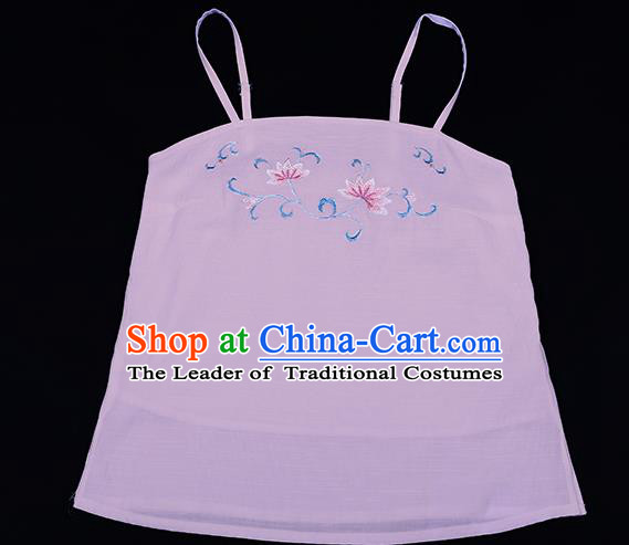 Traditional Chinese Ancient Hanfu Costumes, Asian China Song Dynasty Embroidery Suspenders Pink Vest Bellyband for Women