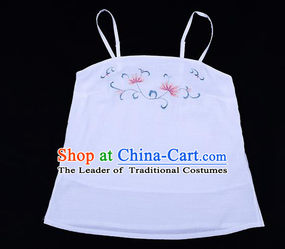 Traditional Chinese Ancient Hanfu Costumes, Asian China Song Dynasty Embroidery Suspenders White Vest Bellyband for Women