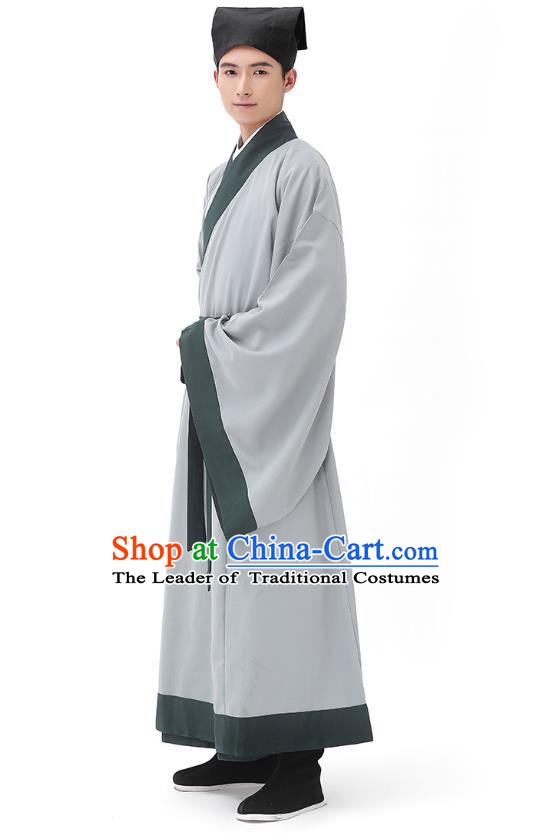 Traditional Chinese Ancient Hanfu Costumes, Asian China Han Dynasty Scholar Grey Long Robe for Men