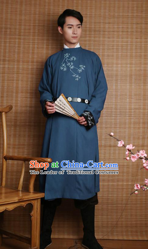 Traditional Chinese Ancient Hanfu Costumes, Asian China Ming Dynasty Imperial Guards Embroidery Blue Long Robe for Men